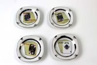 Set of four sixties ceramic ashtrays with card game