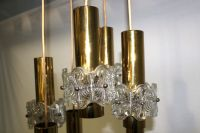 Design ceiling lamp, brass and crystal