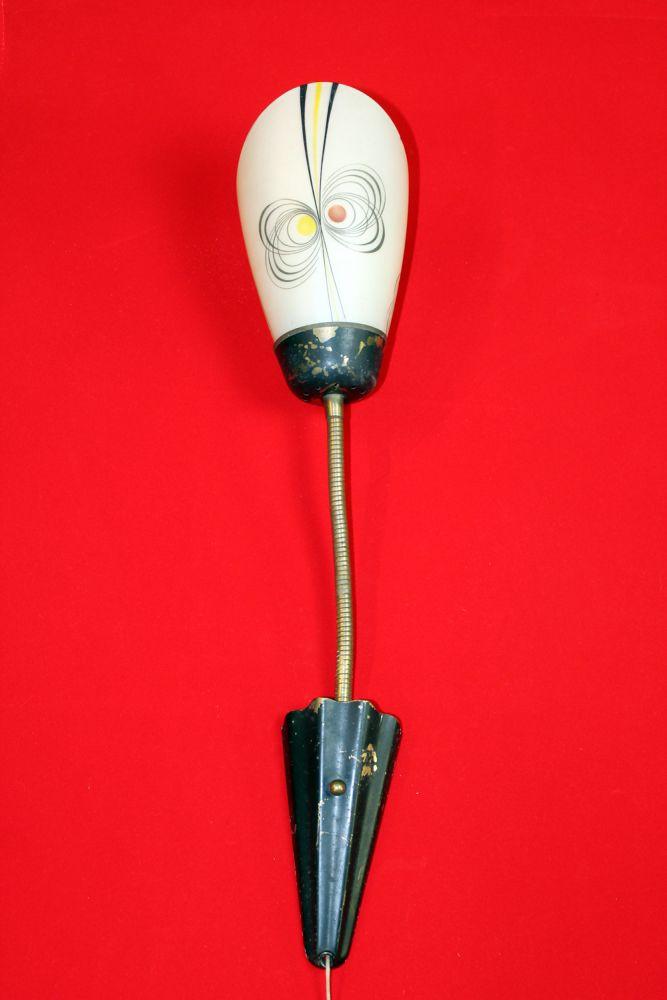 Great lamp wandlamp fifties met aparte glazen kap with for Aparte lampen