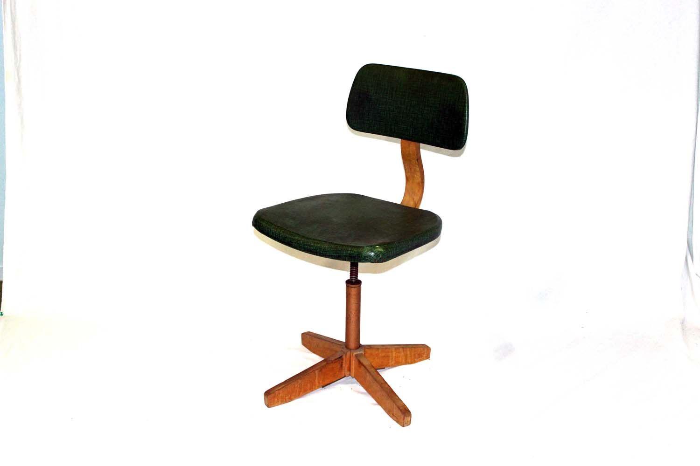 Bureau stoel fifties in hoogte verstelbaar met groene zitting